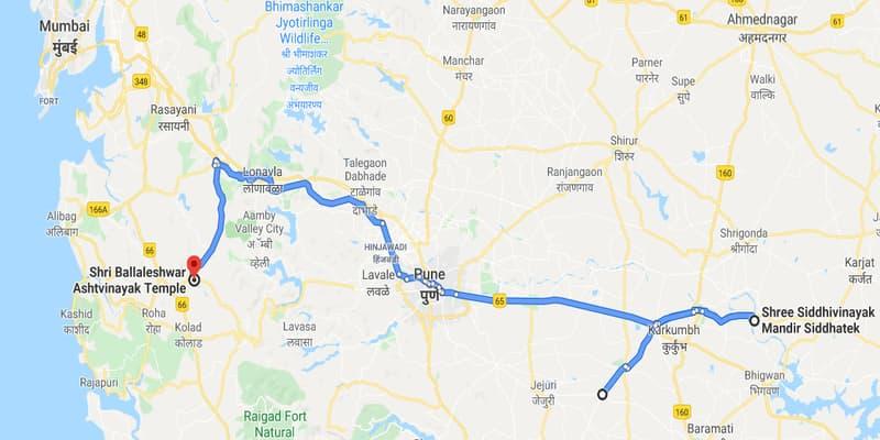 नक्शे में बल्लालेश्वर विनायक मंदिर