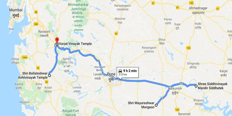 नक्शे में वरद विनायक मंदिर