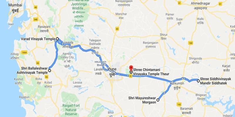नक्शे में चिंतामणि विनायक मंदिर
