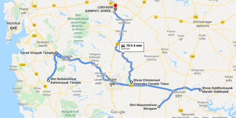 नक्शे में गिरिजात्मज विनायक मंदिर