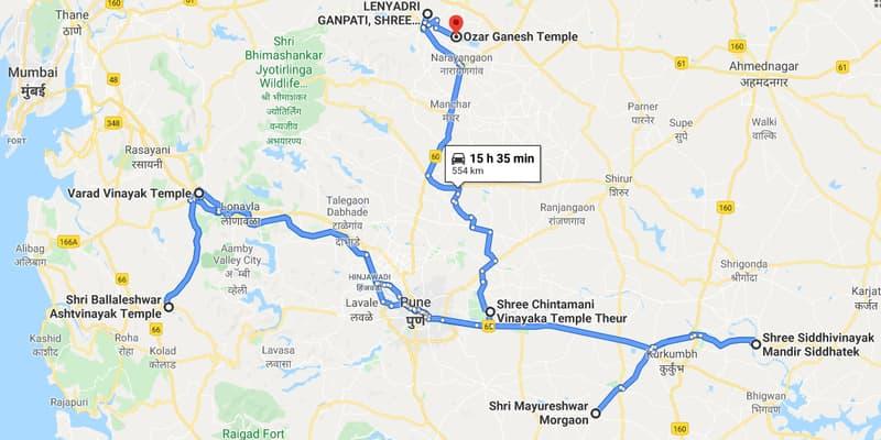 नक्शे में विघ्नेश्वर विनायक मंदिर