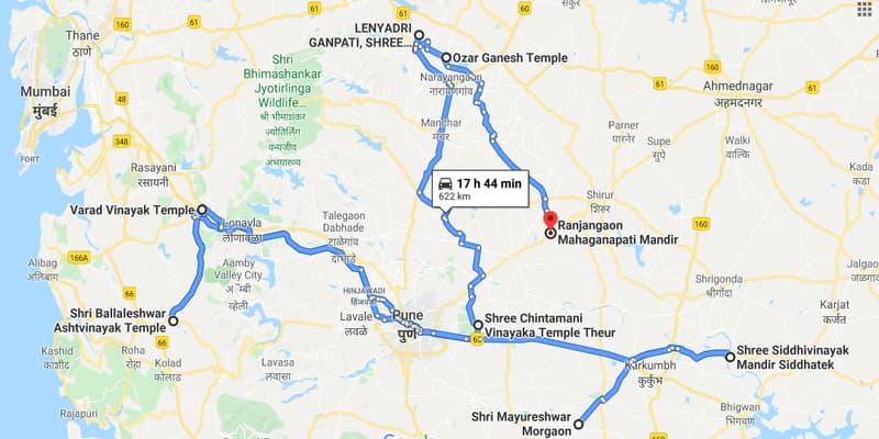 नक्शे में श्री महागणपति मंदिर
